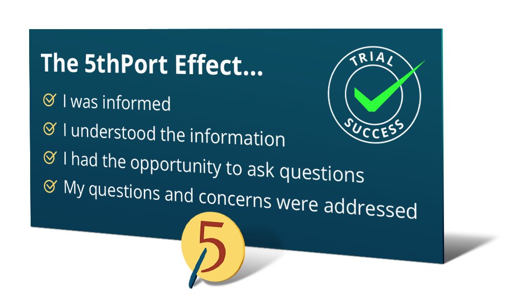 The 5thPort effect ensures that you as a patient were informed, that you understood the information, had the opportunity to ask questions and that your questions/concerns were addressed.