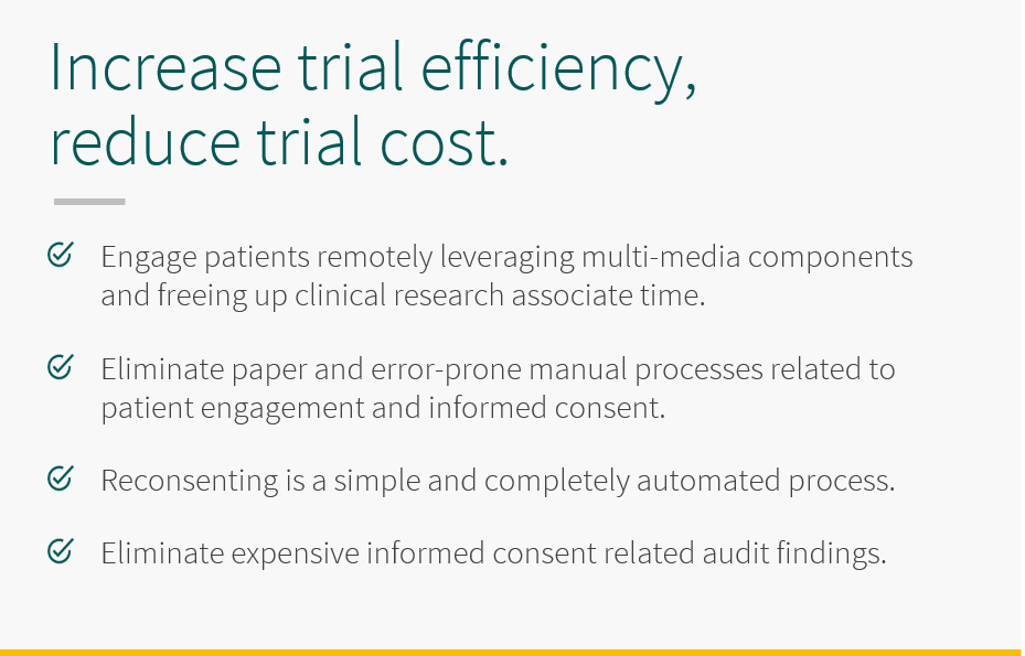 5thPort patient engagement and eConsent software - Increase trial efficiency while reducing trial cost with 5thPort's eConsent software. Engage patients remotely leveraging multimedia components and freeing up clinical research associate time. Eliminate paper and error-prone manual processes related to patient engagement and informed consent. Reconsenting is simple and completely automated. Eliminate expensive informed consent related audit findings.