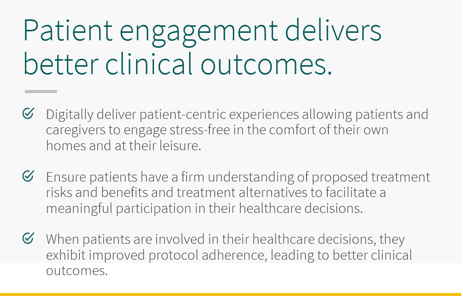 Patient engagement delivers better health outcomes and patient satisfactions. Digitally deliver patient-centric experiences allowing patients and caregivers to engage stress-free in the comfort of their own homes and at their leisure. Ensure patients have a firm understanding of proposed treatments risks and benefits and treatment alternatives to facilitate a meaningful participation in their healthcare decisions. When patients are involved in their healthcare decisions, they exhibit improved protocol adherence, leading to better clinical outcomes.