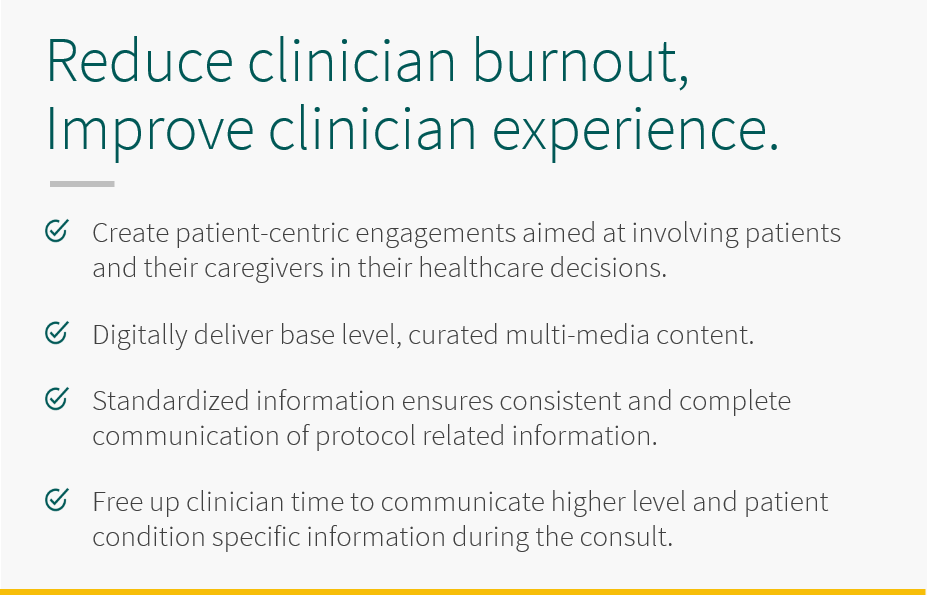 Reduce clinical burnout and improve clinical experiences with 5thPort. Create patient-centric engagements aimed at involving patients and their caregivers in their healthcare decisions. Digitally deliver base level, curated multi-media content. Standardized infomration ensures consistent and complete communication of protocol related information. Free up clinical time to communicate higher level and patient condition specific information during the consult.
