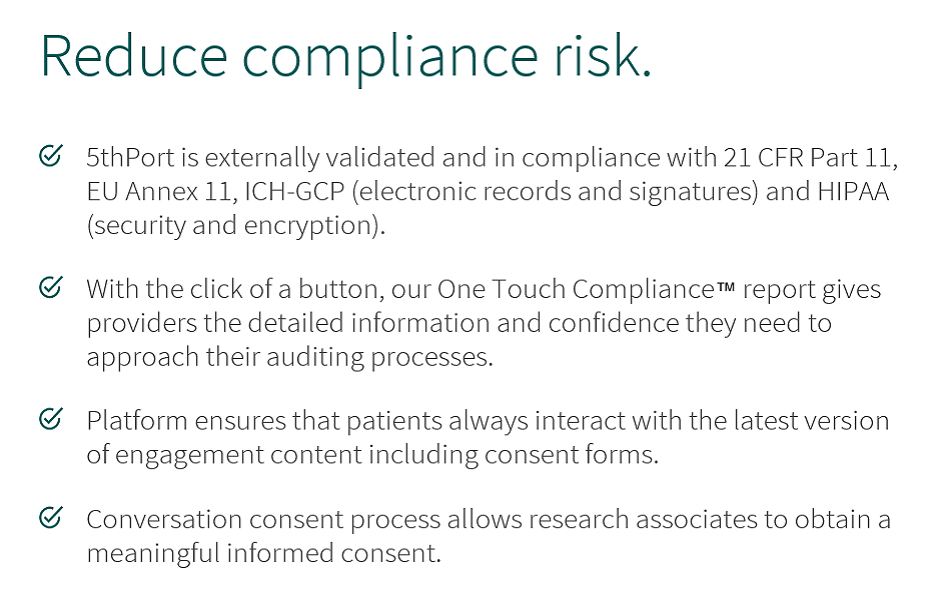 5thPort eConsent software reduces compliance risk with our One Touch Compliance Report.